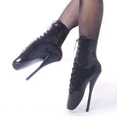 BALLET-1020 Černé extrémní baletní podpatky kotníčkové kozačky