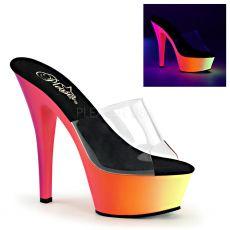 RAINBOW-201UV Pantofle svítící pod uv světlem sexy boty na podpatku a platformě