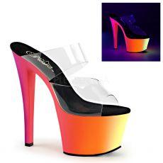 RAINBOW-302UV Svítící sexy pantofle na podpatku a platformě