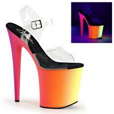 RAINBOW-808UV Svítící erotické boty na podpatku a platformě do night clubů