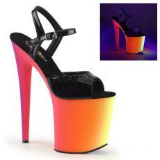 RAINBOW-809UV Svítící erotické boty na podpatku a platformě do strip barů