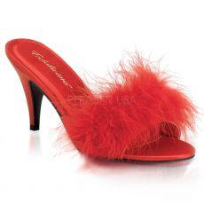 AMO03/R/SAT Červené pantofle s chmýřím