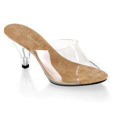 BELLE-301 Sandálky průhledné na nízkém podpatku s hnědou stélkou
