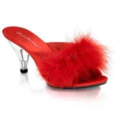 BELLE-301F Sandálky s červeným chmýřím