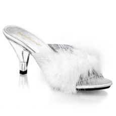 BELLE-301F Pantofle s bílým chmýřím