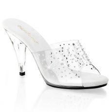 CARESS-401RS Pantofle na podpatku s ozdobnými kameny