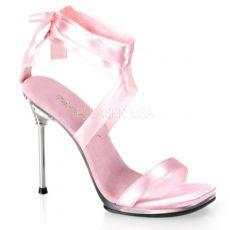 CHIC-14 Pásková růžová společenská obuv na jehlovém podpatku