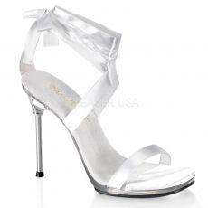 CHIC-14 Pásková bílá společenská obuv na jehlovém podpatku