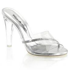 CLEARLY-401R Průhledné společenské boty na podpatku ozdobné kameny