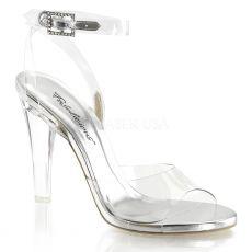 CLEARLY-406 Průhledné společenské boty na podpatku