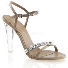 CLEARLY-415 Průhledné/hnědé společenské boty na podpatku