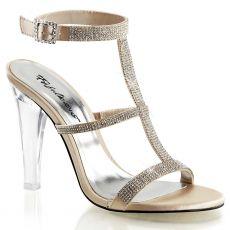 CLEARLY-418 Průhledná/šampaň společenské boty na podpatku