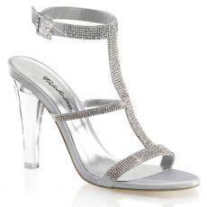 CLEARLY-418 Průhledné/stříbrné společenské boty na podpatku
