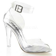CLEARLY-430 Průhledná společenská obuv na podpatku