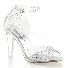 CLEARLY-430RS Zdobené průhledné boty na podpatku