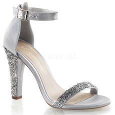 CLEARLY-436 Stříbrná společenská obuv na podpatku