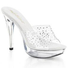 COCKTAIL-501RS Luxusní průhledné sexy pantofle na podpatku a platformě ozdobné kameny