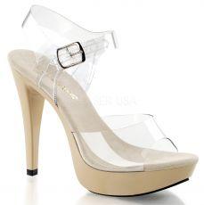 COCKTAIL-508 Sexy krémové boty na podpatku a platformě