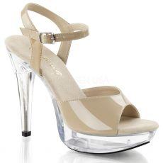 COCKTAIL-509 Krémové sexy boty na podpatku a platformě