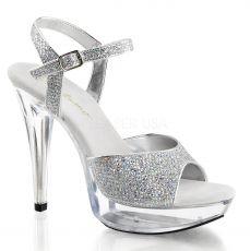 COCKTAIL-509G Stříbrná společenská obuv na podpatku