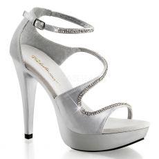 COCKTAIL-526 Luxusní stříbrné společenské boty na podpatku