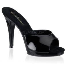 FLAIR-401-2 Sexy černé sandály na podpatku a nízké platformě