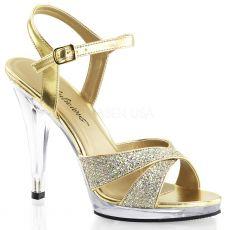 FLAIR-419(G) Zlatá společenská sexy obuv na podpatku