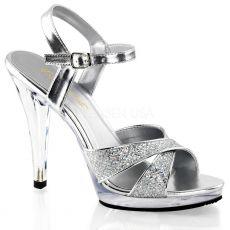 FLAIR-419(G) Stříbrná společenská sexy obuv na podpatku