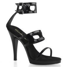 FLAIR-458 Pásková černá společenská sexy obuv na podpatku