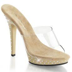 LIP-101SDT Luxusní krémové pantofle na podpatku s ozdobnými kameny