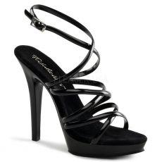 LIP-106 Páskové černé společenské boty na podpatku