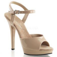 LIP-109 Společenské krémové sexy boty na podpatku