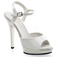 LIP109/W/M Bílé sandály na vysokém podpatku a nízké platformě