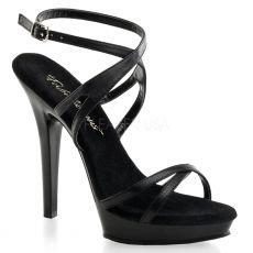 LIP-152 Společenské černé kožené sexy sandály na podpatku