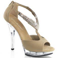 LIP-155 Páskové krémové luxusní boty na podpatku