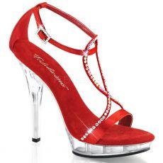 LIP-156 Páskové červené luxusní boty na podpatku