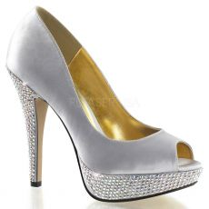 LOLITA-02 Stříbrné luxusní dámské lodičky pleaser na podpatku