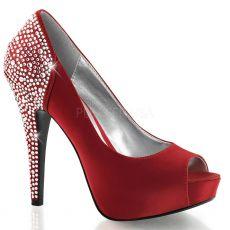LOLITA-08 Červené luxusní dámské lodičky pleaser na podpatku
