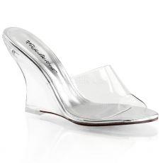 LOVELY-401 Průhledné pantofle na klínku