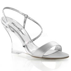LOVELY-417 Plesová obuv na klínku stříbrná