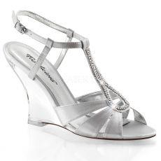 LOVELY-420 Plesová obuv na klínku stříbrná