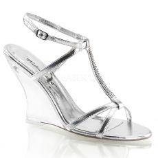 LOVELY-428 Plesová obuv na klínku stříbrná
