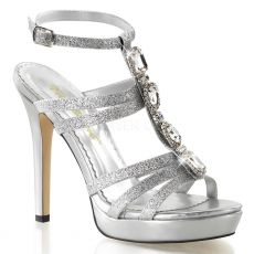 LUMINA-22 Stříbrné páskové dámské luxusní lodičky na podpatku