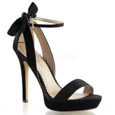 LUMINA-25 Černé páskové dámské luxusní lodičky na podpatku