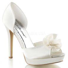 LUMINA-34 Bílé svatební moderní dámské lodičky na podpatku