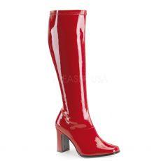 KIKI-350 Červené lesklé kozačky pod kolena na podpatku