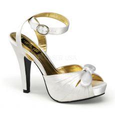 BETTIE-04 Bílé svatební a společenské boty na podpatku