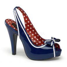 BETTIE-05 Modré retro společenské boty na podpatku
