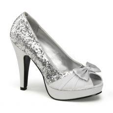 BETTIE-10 Stříbrné společenské boty na podpatku