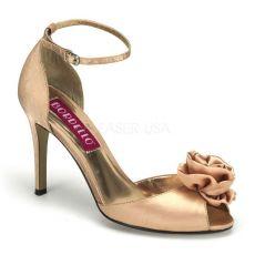 ROSA-02 Krémové sandálky na podpatku